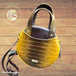 Magdalena circle bag, ladies handbag, Moc Croc vinyl,