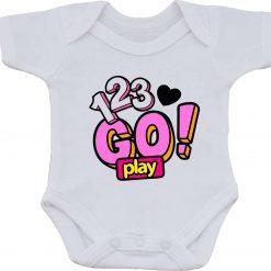 123 Go Play Present gift one-piece Sublimation Babygro White Baby Vest or bib