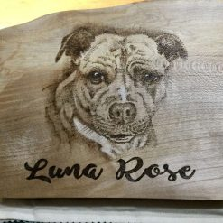 Commission Portraits Pyrography Burnt on Chunky Wood