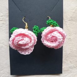 Crochet pink rose earring set - free delivery