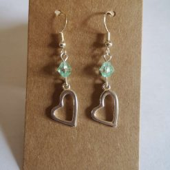 Heart with Green Bead Earrings - Sterling Silver Hooks