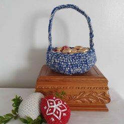 Easter basket, Blue, Easter hunt eggs basket, Easter hamper, handmade, Basket, housewarming gift