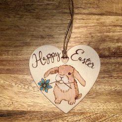 Hand Burnt Wooden Heart for Easter