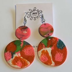 Multi coloured double dangle polymer clay earrings