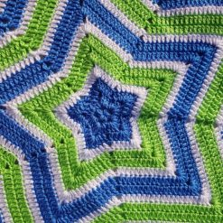 Star blanket- blue,green & white