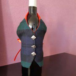 Black Watch Tartan Wine Bottle Waistcoats,  Tartan Waistcoats, Bottle Covering, Whisky bottle cover