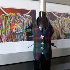 Red Hackle Tartan Wine Bottle Waistcoats,  Tartan Waistcoats, Bottle Covering, Whisky bottle cover