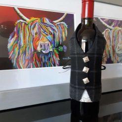 Grey Highlander Tartan Wine Bottle Waistcoats,  Tartan Waistcoats, Bottle Covering, Whisky bottle cover