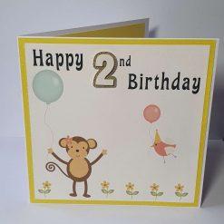 Handmade Monkey 2nd Birthday Card