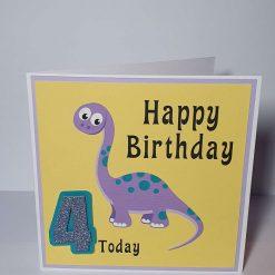 Handmade Dinosaur 4th Birthday Card