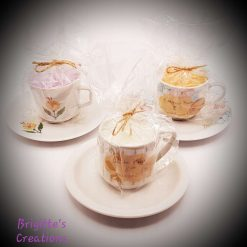 Blended Wax Individual Espresso Cup and Saucer Candle - Musky Scents