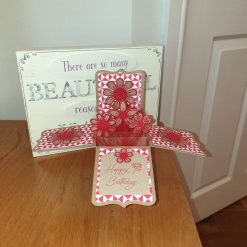 Tan and red Pop up box card