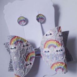 Rainbow Bow and Earring Set