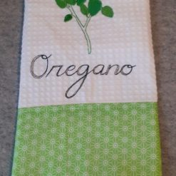 Oregano Machine Embroidered  Tea Towel