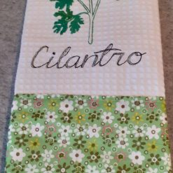 Celantro Machine Embroidered  Tea Towel