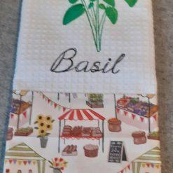 Basil Machine Embroidered  Tea Towel