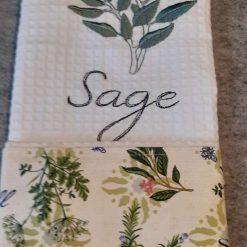 Sage Machine Embroidered  Tea Towel