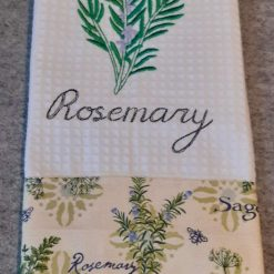 Rosemary Machine Embroidered  Tea Towel