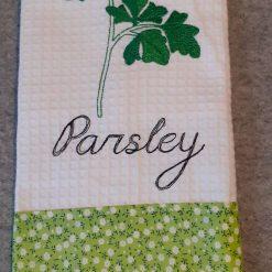 Parsley Machine Embroidered  Tea Towel