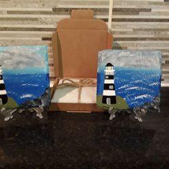 Hand painted slate coasters x2 black/white lighthouse 2
