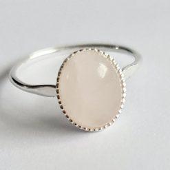 A beautiful sterling silver rose quartz ring.