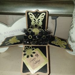 Black and gold box card