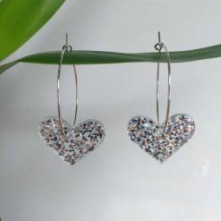Silver Glitter Heart Hoops