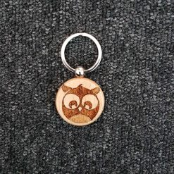Pyrography Hand Burnt Wooden Keyring - Owl