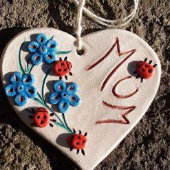Personalised Ladybird Hanging Heart