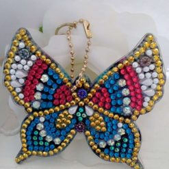 Butterfly handbag/keyring chain in blue, red, gold and pearlybwhite 5d resin beads (A)