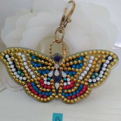 Butterfly handbag/keyring chain in blue, red, gold and pearly white 5d resin beads (B)