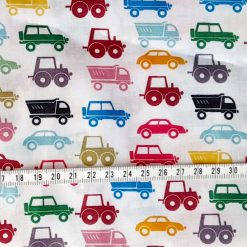 Fabric remnant/ fat quarter 45cms square. Cars and lorries design