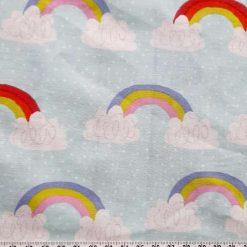 Fabric fat quarter.  Rainbow print polycotton mix. 50cms square