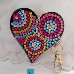 Heart shaped handbag/keyring chain in multi-coloured 5d resin beads (A)