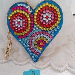 Heart shaped handbag/keyring chain in multi-coloured 5d resin beads (B)