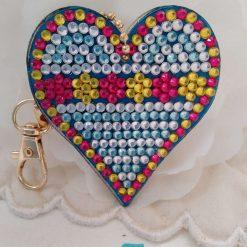 Heart shaped handbag/keyring chain in multi-coloured 5d resin beads (C)