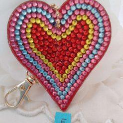 Heart shaped handbag/keyring chain in multi-coloured 5d resin beads (E)