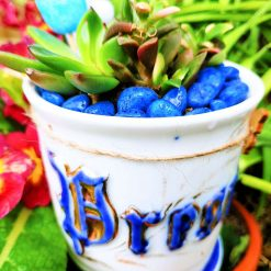 """Beautiful white """"Present"""" mug with mixed succulents, matching stones and Easter embellishments. With drainage hole."""