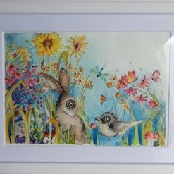 "❤ Framed Original Watercolour "" In the field 5"" 🐦 🐇"