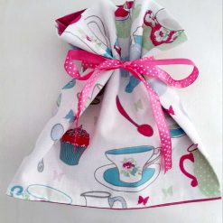 Gift bag. Afternoon tea print with polka dot ribbon tie. Ready for you to fill with treats