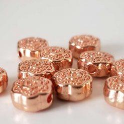 Rose Gold Alloy Flower Beads