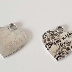 Tibetan Silver Message Love Heart Charm Pendants