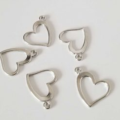 Silver Heart Shape Charms
