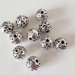 Tibetan Style Round Zinc Alloy Beads