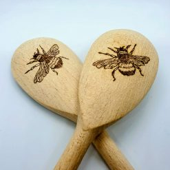 Pyrographed bee wooden spoon