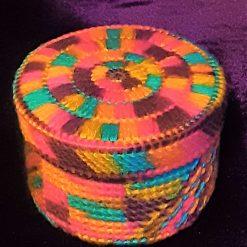 Multi-Coloured Plastic Canvas Oval Trinket Box