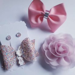 Pink Spring Bow and Earring Set