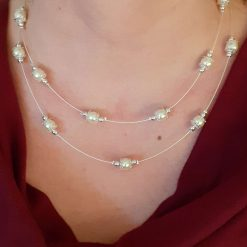 Double Strand Cream Pearl Necklace