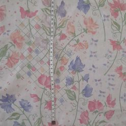 Fabric remnant  Pink and blue flowers 80x36cms