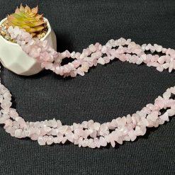 A beautiful triple strand rose quartz necklace